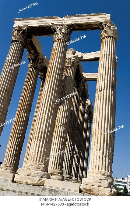 Detail of the temple's Corinthian capitals, architraves and columns, Temple of Zeus, Athens, Greece
