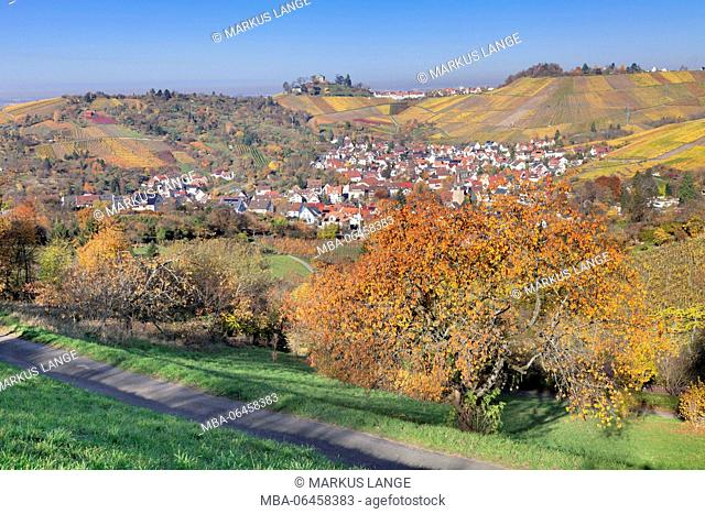 View about Uhlbach on the tomb Chapel in Rotenberg, part of town of Stuttgart, Baden Wurttemberg, Germany