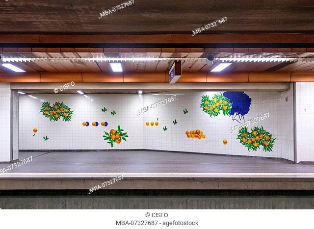 Portugal, Lisbon, Lisbon Estação do Laranjelras, artistical designed wall tile pictures in the metro