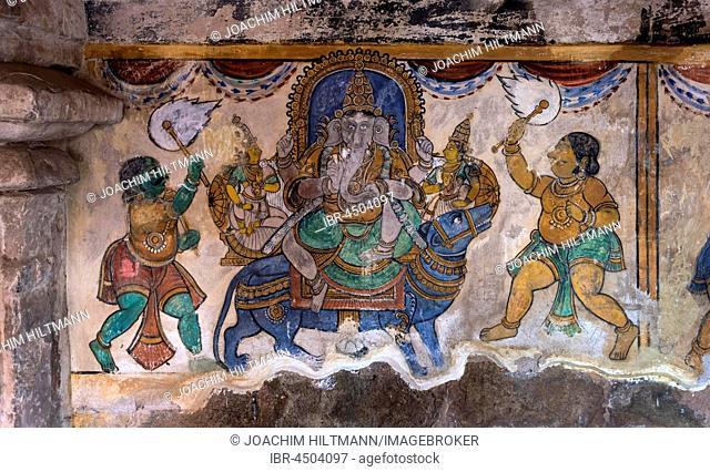Hindu god Ganesh or Ganesha, Mural, Brihadeeswarar Temple, Thanjavur, Tamil Nadu, India