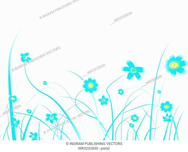 Floral background design with subtle blue colours and blank space to add your own text