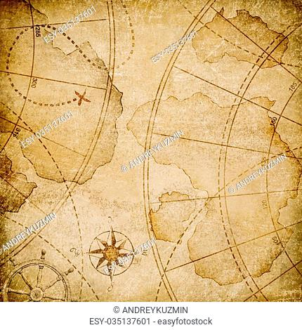 aged nautical pirates map stylization