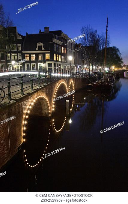 Canal, lights and reflections in Keizersgracht, Amsterdam, Holland, Europe