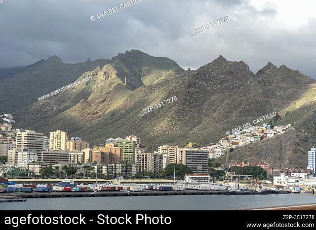 Santa Cruz de Tenerife, Canary Islands, Spain - December 8, 2019: Cruise ships and boats in port of Santa Cruz de Tenerife, Canary Islands, Spain