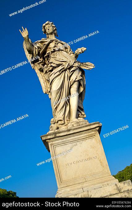 Angel Sculpture, Aelian Bridge, Pons Aelius, Ponte Sant'Angelo, Rome, Lazio, Italy, Europe