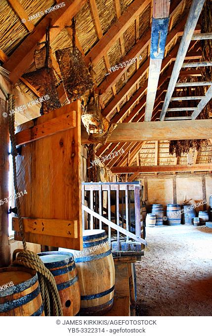 A recreated warehouse demonstrates how Jamestown colonists stored their provisions