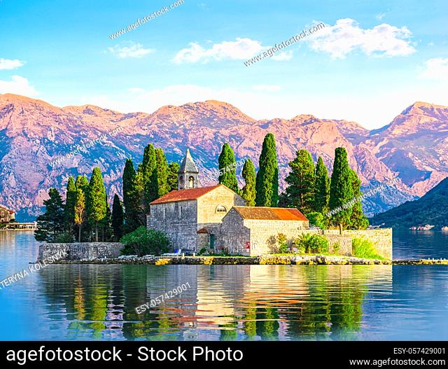 Island of Saint George among the mountains of Perast, Montenegro