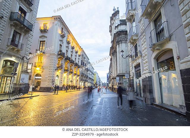Catania by twilight on Octotber 14, 2018 Sicily Italy
