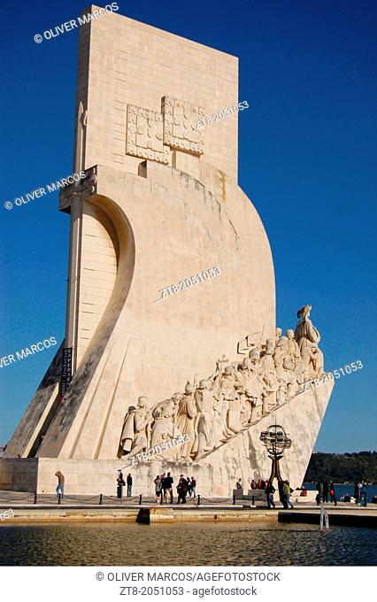 Monument to the Discoveries, located on the estuary of the Tagus River in Lisbon, Portugal, The Monument to the Discoveries in Portuguese: 'Monumento aos...