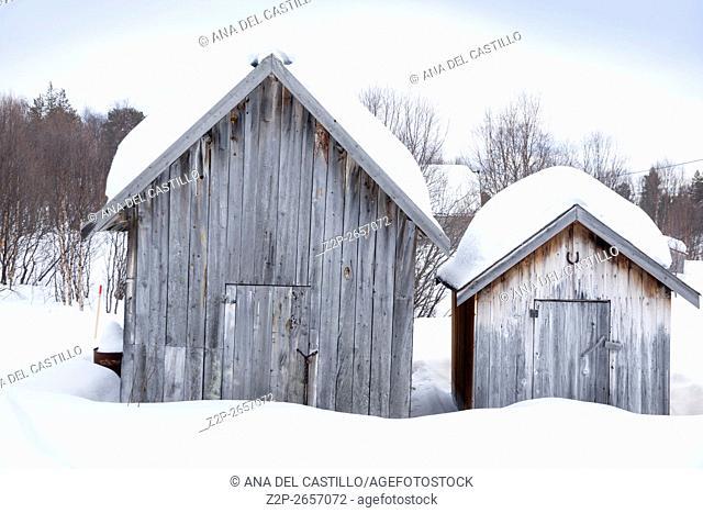 Winter landscape wooden houses Kirkenes North of Norway