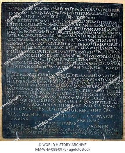 Bronze plate document granting citizenship to an army auxiliary named Gemellus. Dated 2nd Century