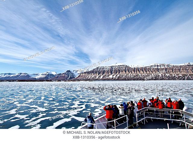 A view of Isfjorden Ice fjord on the western side of Spitsbergen Island in the Svalbard Archipelago, Norway