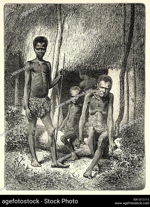 Native indigenous family at the door of their hut in Kanala, New Caledonia. Old engraving illustration, Journey to New Caledonia by Jules Garnier