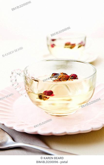 Fruit in cup of tea