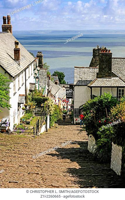 Cottages in the hillside village of Clovelly in Devon