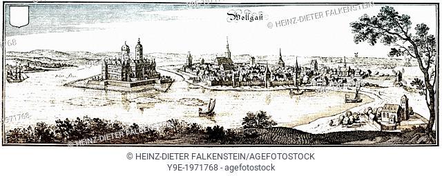 Panoramic view of Wolgast, Mecklenburg Western Pomerania, Germany, Europe