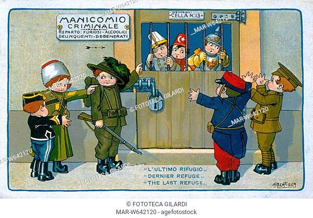 I G.M. ITALIA satira sulle alleanze tra nazioni: al manicomio criminale, nel reparto Furiosi - Alcoolici - Delinquenti - Degenerati sono rinchiusi Austria