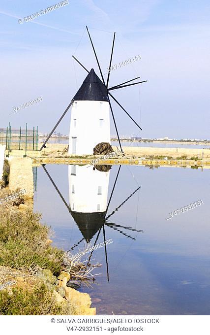 Old windmill in the salt flats of San Pedro del Pinatar, Murcia, Spain