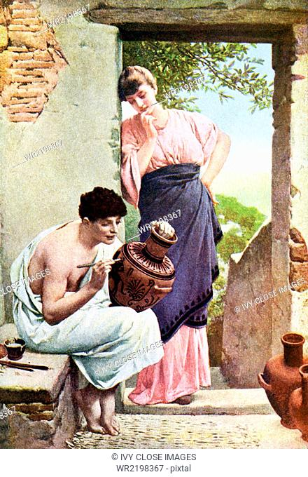 In this illustration dating to 1917, a young Greek maiden watches a greek artisan decorate a large earthenware container