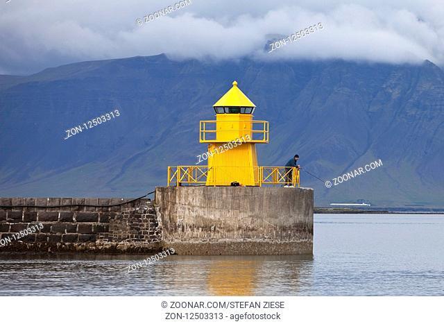 Leuchtturm Hafeneinfahrt, Seltjarnarnes, Reykjavik, Island, Europa