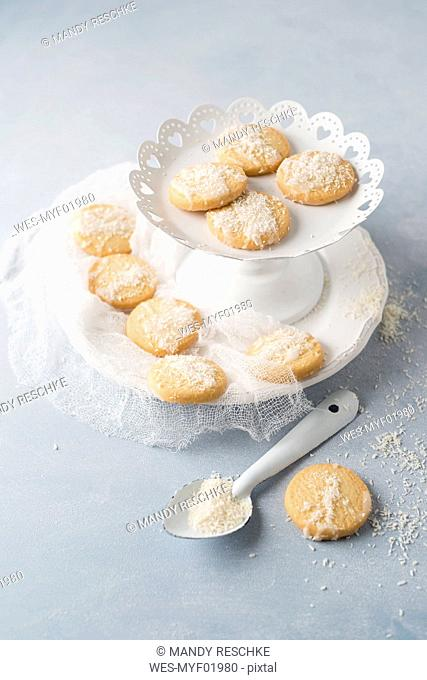 Biscuits with sugar icing and coconut flakes