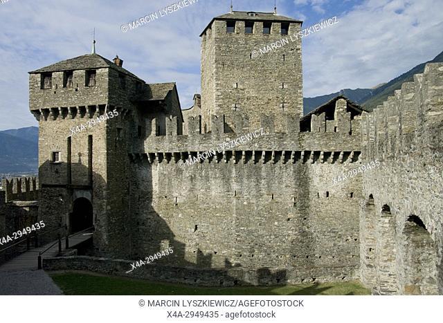 Towers of Montebello Castle in Bellinzona