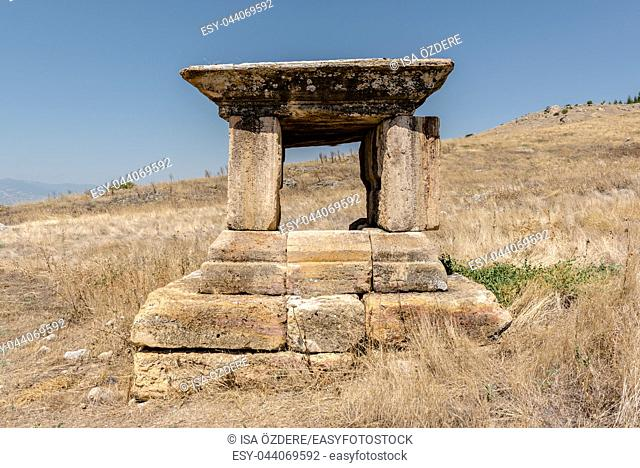 Ancient tomb at Hierapolis in Pamukkale, Turkey. UNESCO World Heritage