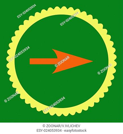 Arrow Axis X flat orange and yellow colors round stamp icon