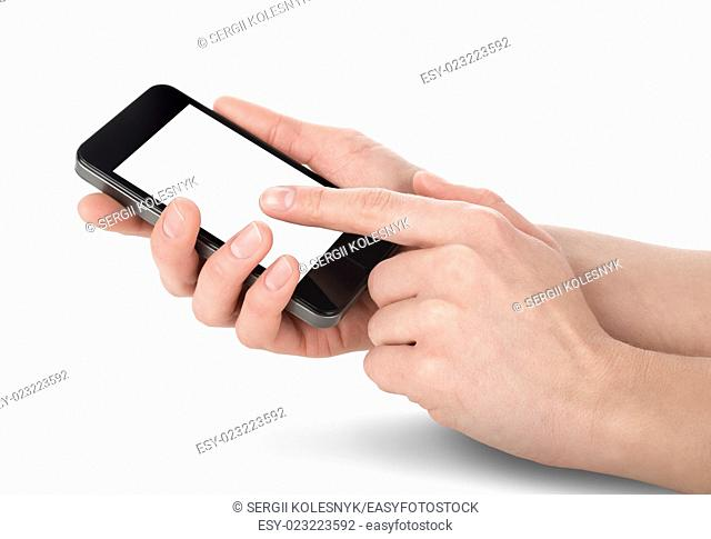 Mobile phone in hands isolated on white