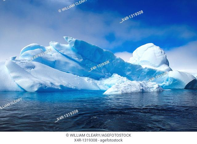 Sculpted Icebergs in Antarctica  this one seeming to show a mans face