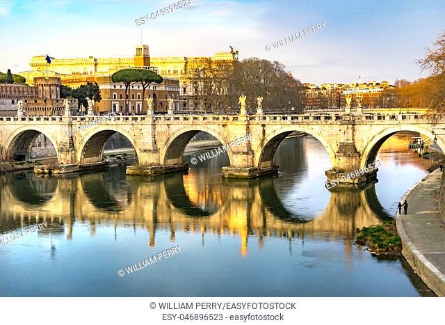 Bernini Angels Ponte Bridge Saint Angelo Tiber River Reflection Rome Italy. Gian Lorenzo Bernini famous Italian sculptor in 1600s