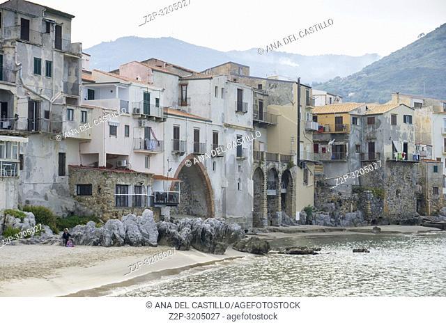 Cefalu old port Sicily village on the sea Italy