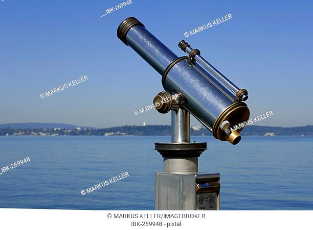 Telescope at the port promenade, Meersburg, Baden Wuerttemberg, Germany, Europe