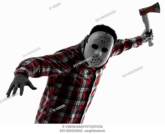one causasian man serial killer with mask portrait in silhouette studio isolated on white background