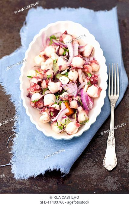 Marinated octopus with thyme and red onions