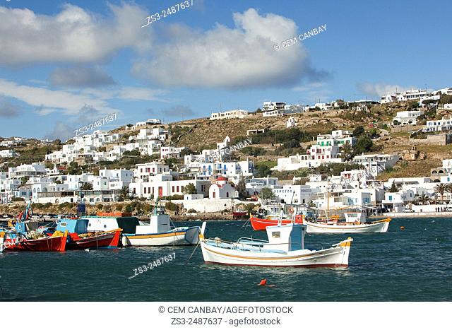 Fishing boats moored inside the harbor, Mykonos, Cyclades Islands, Greek Islands, Greece, Europe