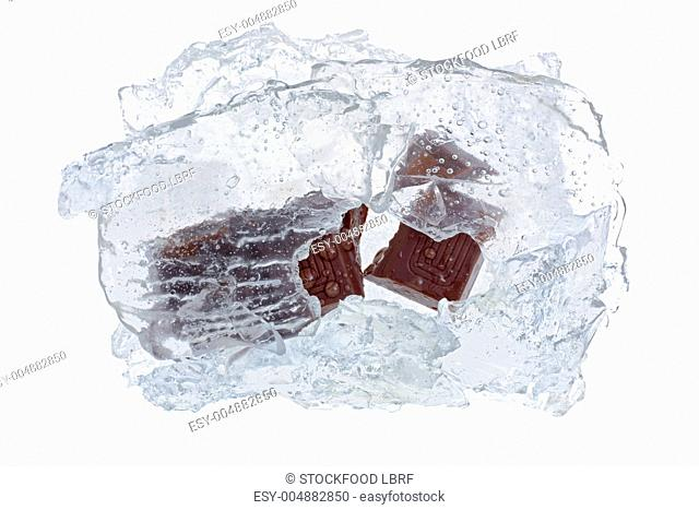 Chocolate in a block of ice