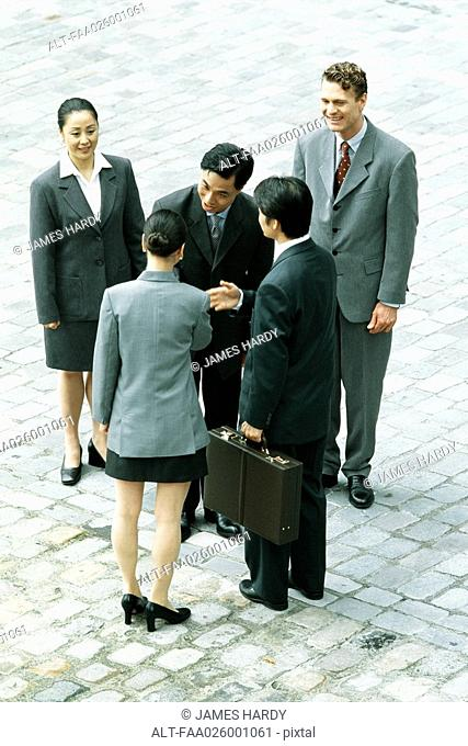 Group of professionals standing together, man and woman shaking hands, high angle view