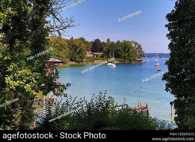 District of Starnberg, Germany September 13, 2020: Impressions Starnberger See - 2020 Tutzing, Starnberger See, view from the Nordbad towards the north and the...
