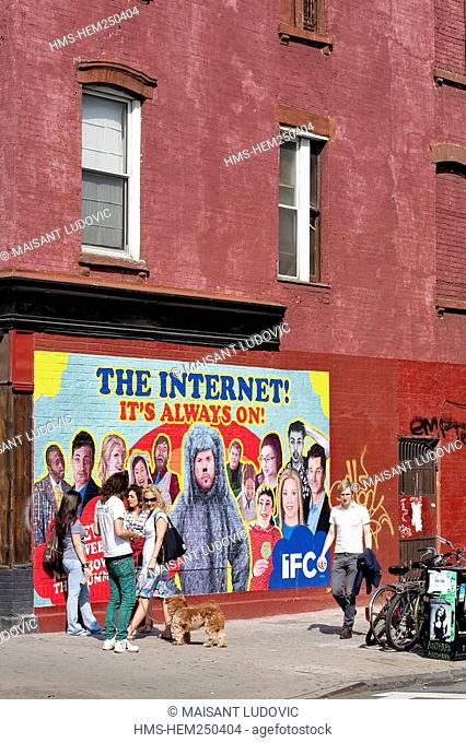 United States, New York City, Brooklyn, Williamsburg, mural for promoting series on the Web