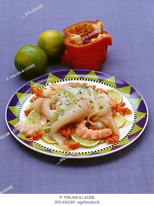 Ceviche of raw fish, squid and prawns