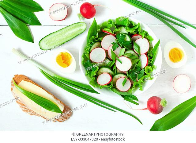 Appetizer spring organic salad with radish, green salad, cucumber, onion and wild leek on white background