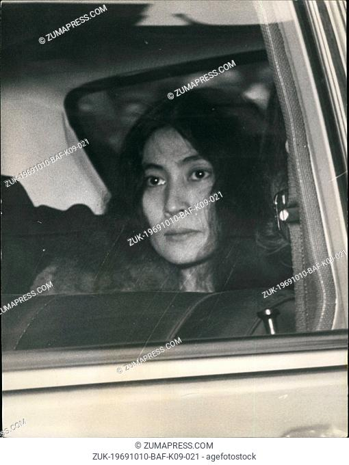 Oct. 10, 1969 - Beatle John Lennon on Drug Charge : John Lennon of the Beatles, and his friend Yoko Ono Cox, the Japanese actress were arrested by Scotland yard...