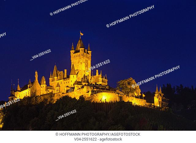 The beautiful Reichsburg Cochem (Cochem Imperial Castle) at night, Cochem, Rhineland-Palatinate, Germany, Europe