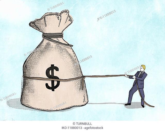 Businessman pulling at rope around large dollar sign money bag