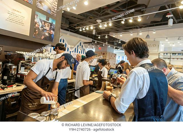 Lavazza coffee bar at the grand opening of Eataly Downtown in Lower Manhattan in New York. Located in 4 World Trade Center the emporium of all foods Italian is...