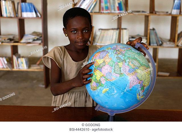 World map globe in an African school