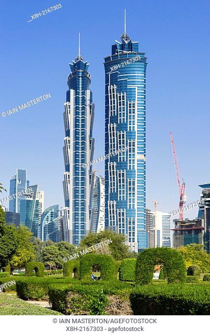 JW Marriott Marquis hotel viewed from Al Safa Park in Dubai United Arab Emirates