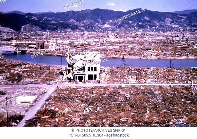 Hiroshima reduced to rubble and ruins by the atomic bomb March 1946 Japan - World War II U.S. Air Force