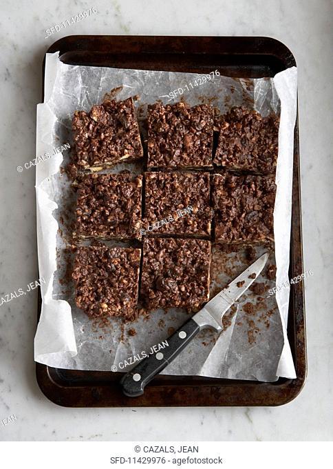 Homemade chocolate crispy cakes cut into squares